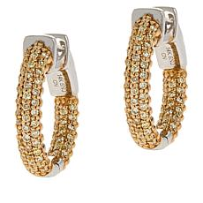 Passport to Gems 14K Gold Diamond Pavé Hugger Hoop Earrings
