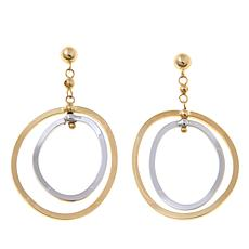 Passport to Gold 14K 2-tone Double Oval Drop Earrings
