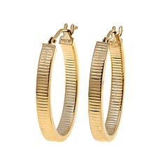 Passport to Gold 14K Gold Ribbed Oval Hoop Earrings