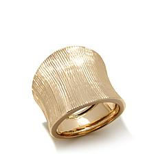 Passport to Gold 14K Yellow Gold Textured Concave Ring