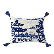 "Patricia Altschul 16"" x 20"" Chinoiserie Hand-Hooked Decorative Pillow"