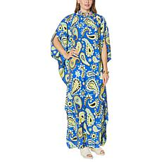 Patricia Altschul Printed Caftan with Beaded Neck