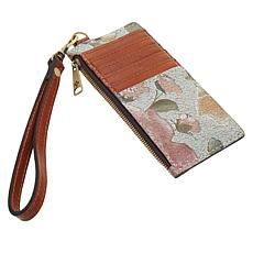 Patricia Nash Almeria Crackled Rose Garden Leather Card Wristlet