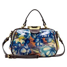 Patricia Nash Antica Leather Blu Clay Floral Frame Crossbody