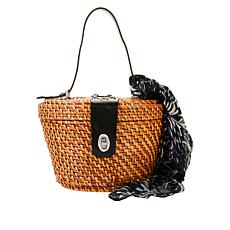 Patricia Nash Caselle Spring Wicker Basket Bag with Scarf