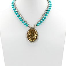 """Patricia Nash Cavo 20"""" Double-Row Beaded Tooling Drop Necklace"""