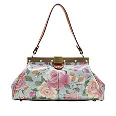 Patricia Nash Ferrara Crackled Rose Garden Leather Satchel