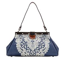 Patricia Nash Ferrara Crochet Lace Embroidered Leather Frame Satchel
