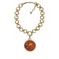 """Patricia Nash Josette Leather Inset Pendant with 20"""" Necklace"""