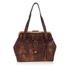 Patricia Nash Lamé Leather Frame Satchel