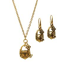 Patricia Nash Lock-and-Key Necklace and Earrings Set