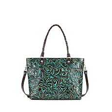 Patricia Nash Navelli Tooled Leather Tote - Turquoise