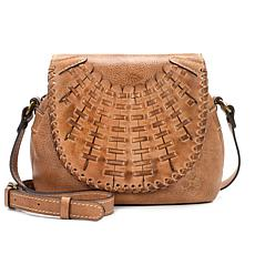 Patricia Nash Puccini Leather Woven Flap Crossbody Bag
