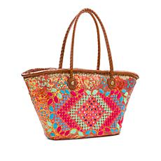 Patricia Nash Ribeira Sequined Straw Large Tote with Leather Trim