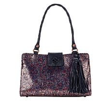 Patricia Nash Rienzo Kimono Tapestry Print Leather Satchel