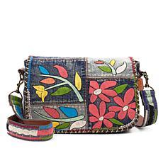 Patricia Nash Rosa Embroidered Denim Saddle Bag