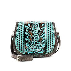 Patricia Nash Salerno Tooled Turquoise Saddle Bag