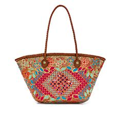 Patricia Nash Triana Sequined Straw Medium Tote with Leather Trim