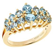 Paul Deasy Gem Gold-Plated Two-Row Round Gemstone Ring