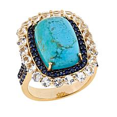 Paul Deasy Gem Kingman Turquoise, Sapphire and White Topaz Ring