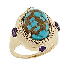 Paul Deasy Gem Oval #8 Turquoise and Amethyst Ring