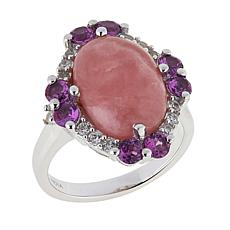 Paul Deasy Gem Rhodochrosite, Purple Garnet and White Zircon Ring