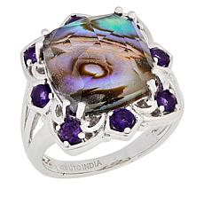 Paul Deasy Gem Sterling Silver Abalone Shell and Amethyst Ring