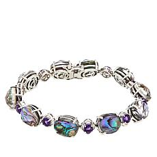 Paul Deasy Gem Sterling Silver Abalone Shell and Amethyst Bracelet