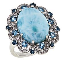 Paul Deasy Gem Sterling Silver Larimar and London Blue Topaz Ring