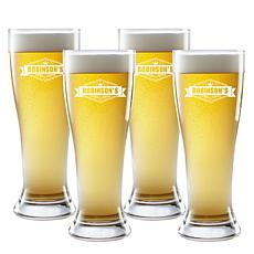 Personal Creations Personalized Crown Brew Pilsner Glasses - Set of 4