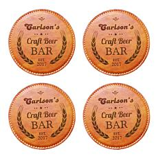 Personalized Craft Beer Bar Coasters - Set of 4