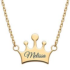 Personalized Engraved Name Crown Necklace