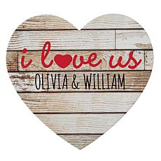 "Personalized ""I Love Us"" Wooden Heart Plaque"
