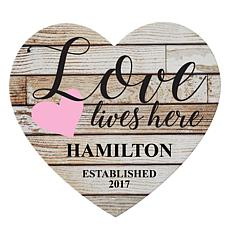 """Personalized """"Love Lives Here"""" Wooden Heart"""