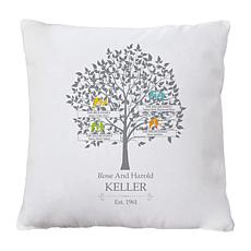 "Personalized ""Loving Family Tree"" Throw Pillow - 15"" x 15"""