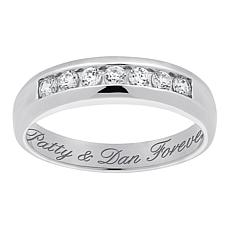 Personalized Men's CZ Wedding Band Ring