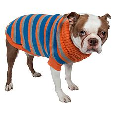 Pet Life Heavy Cable Knit Striped Polo Dog Sweater