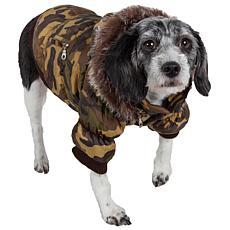 Pet Life Metallic Fashion Dog Parka Coat with Removable Hood