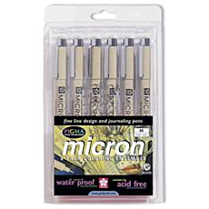 Pigma Micron 6-Pen Set - Black Ink