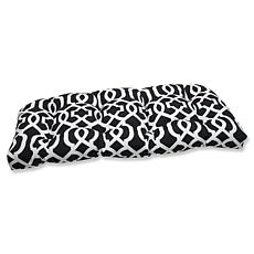 Pillow Perfect Geo Wicker Loveseat Cushion- Black-White