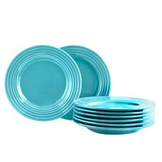 "Plaza Cafe 8.5"" Dessert Plate Set in Turquoise, Set of 8"