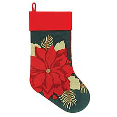 Poinsettia Stocking Green