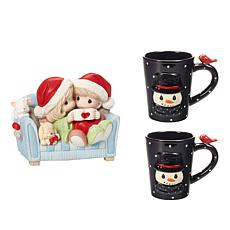 Precious Moments Couple on Couch Figurine and Snowman Mugs