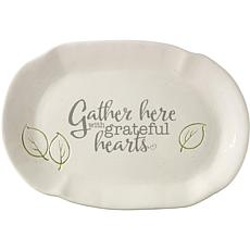 Precious Moments Gather Here With Grateful Hearts Oval Ceramic Platter
