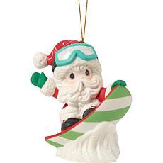 Precious Moments Holiday Fun Christmas Santa Bisque Porcelain Ornament