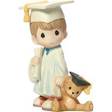"""Precious Moments """"I Did It"""" Graduation Boy With Teddy Bear Figurine"""