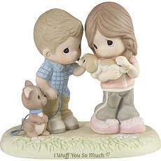 PreciousMoments I Wuff You Couple w Puppies Bisque Porcelain Figurine