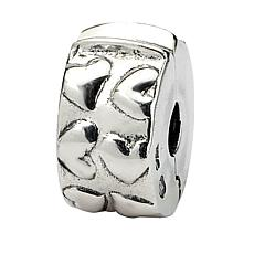 Prerogatives Sterling Silver Hinged Hearts Clip Bead