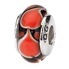 Prerogatives Sterling Silver Red Heart Handblown Glass Bead