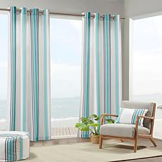 "Print Stripe 3M Scotchgard Curtain Blue & White/54""x95"""